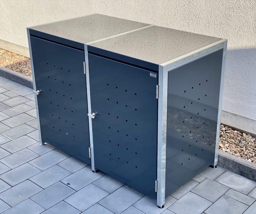 Mülltonnenboxen – 2er Mülltonnenbox feuerverzinkt und anthrazit
