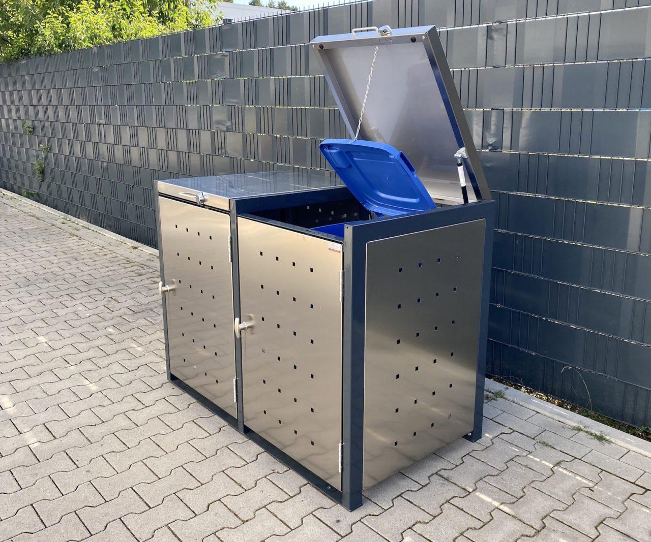 Mülltonnenboxen – 2er Mülltonnenbox Edelstahl