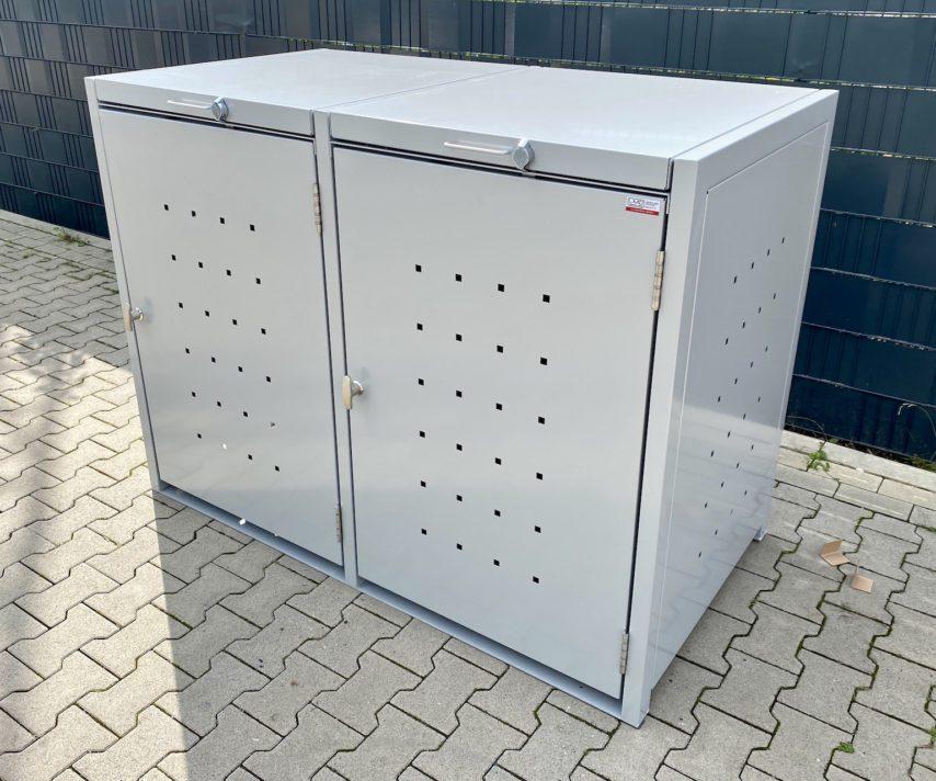 Mülltonnenboxen – 3er Mülltonnenbox in weiß mit Quadratlochung