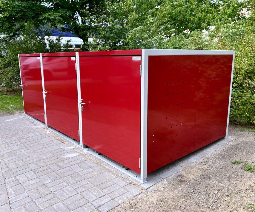 3er Fahrradbox rot