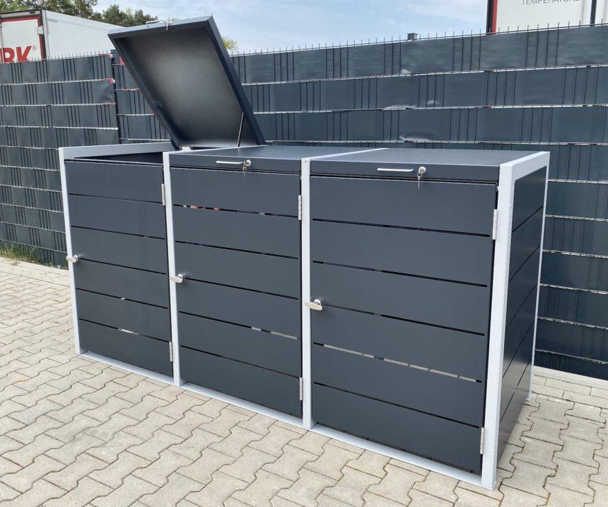 Mülltonnenboxen – 3er Mülltonnenbox in anthrazit und Weißaluminium