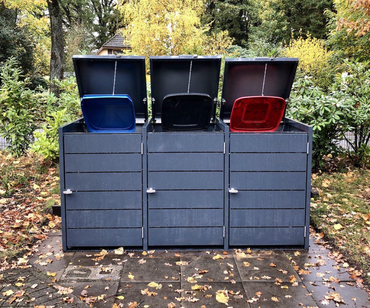 Mülltonnenboxen – 3er Mülltonnenbox mit Klappdach in Lamellenoptik