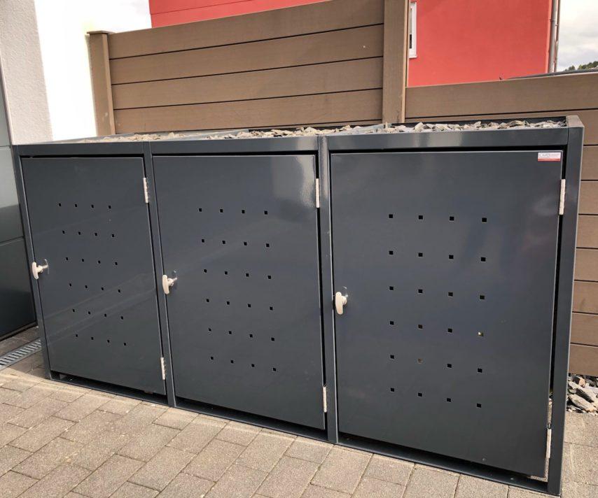 Mülltonnenboxen – 3er Mülltonnenbox mit Pflanzdach