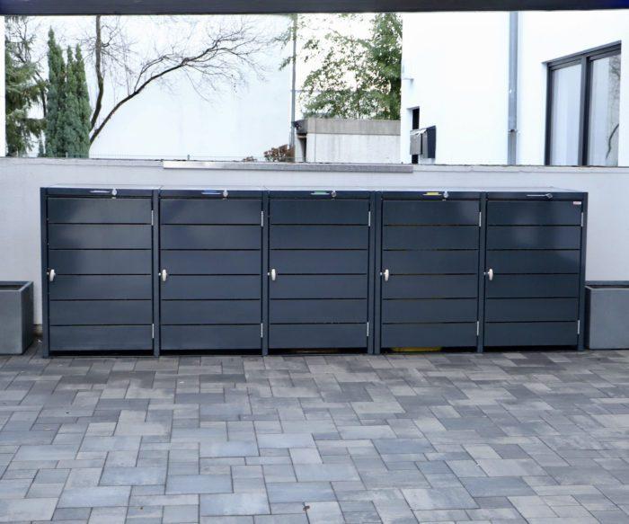 5er Mülltonnenbox – Eisenglimmer Grau