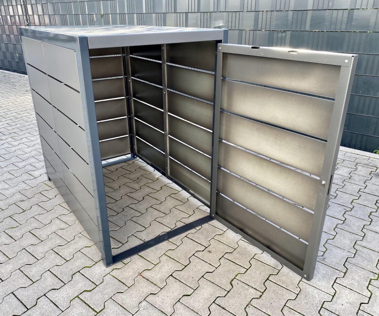 Kinderwagenbox Lamellenoptik anthrazit Eisenglimmer Grau offen