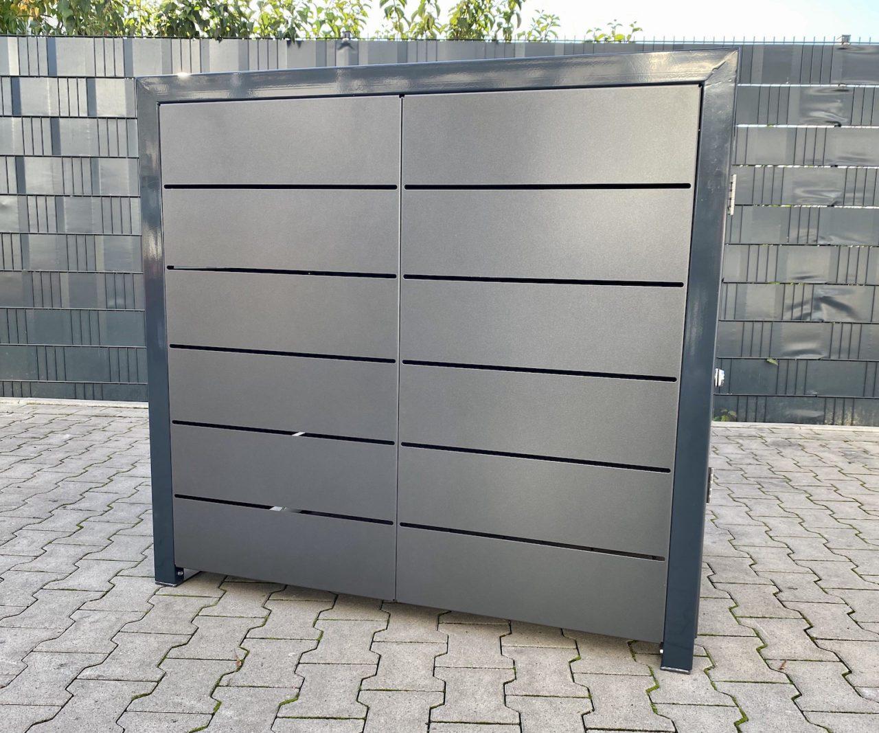 Kinderwagenbox Lamellenoptik anthrazit Eisenglimmer Grau von der Seite