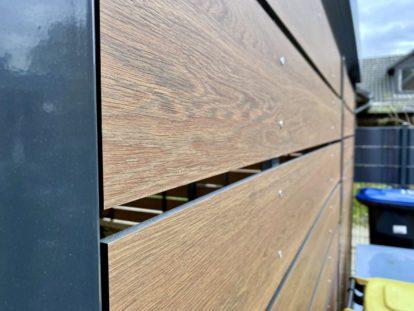 Carports und Fahrradüberdachungen – Seitenwand HPL-Lattung horizontal